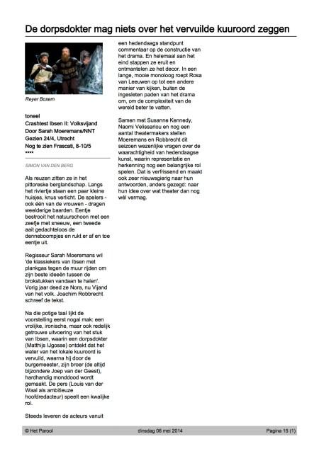 Crashtest Ibsen II Volksvijand recensie in Het Parool
